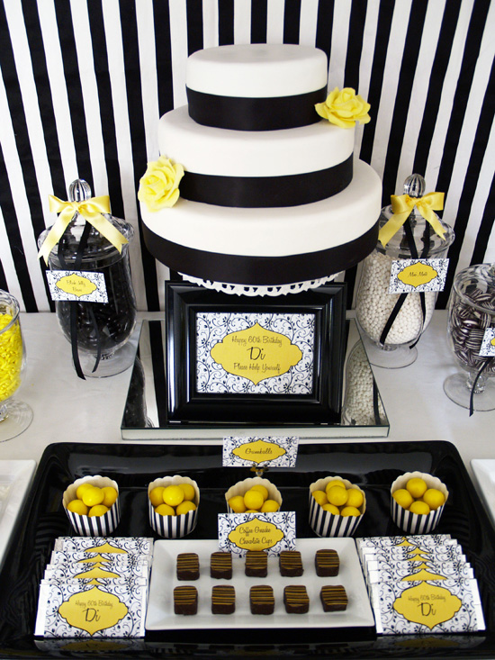 yellow and black candy buffet003 Black and Lemon Lolly Buffet