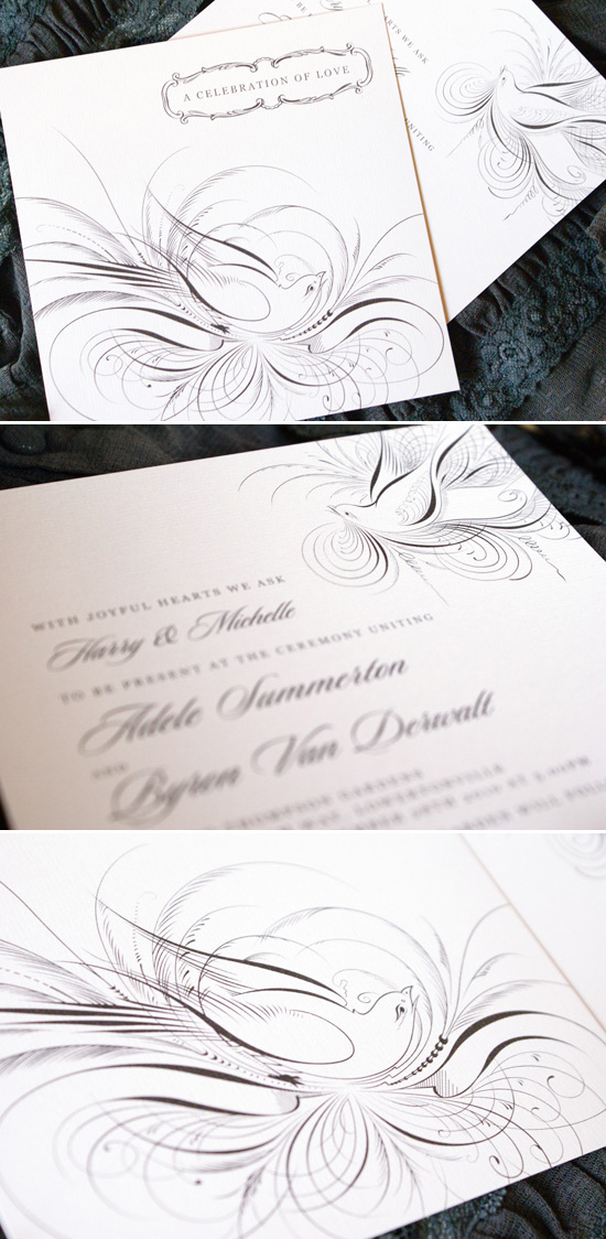 Flourish Wedding Invitation Sweet Wedding Invitations From Poppiseed Designs