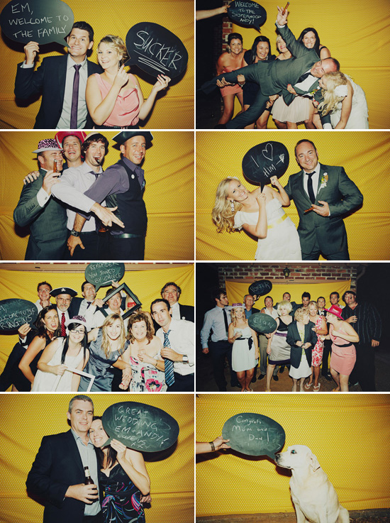 Yellow photobooth Emma and Andys Relaxed Western Australia Wedding
