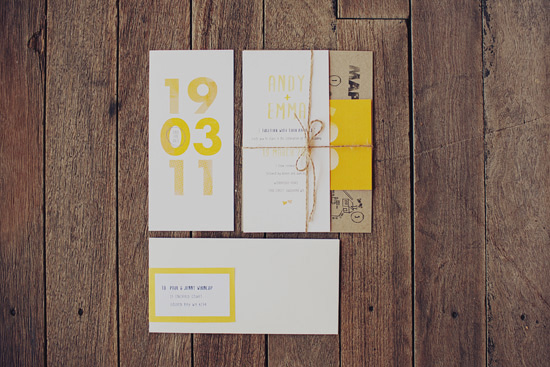 The yellow and white theme started with the stationery designed by Monique
