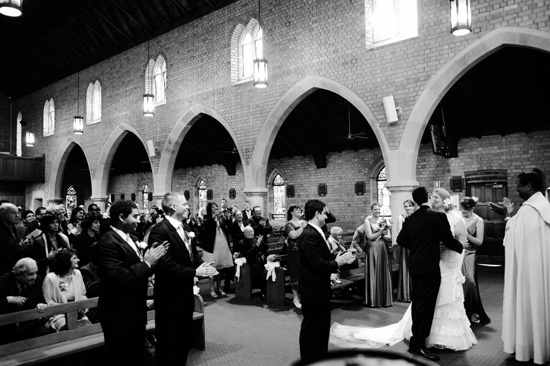 The couple married at St Charles Borromeo Catholic Church with a traditional
