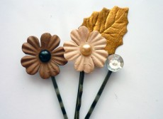 Finished Paper Flower Hair Pins