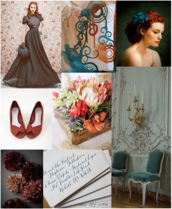 teal and rust inspiration board