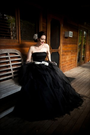 Bride wearing black