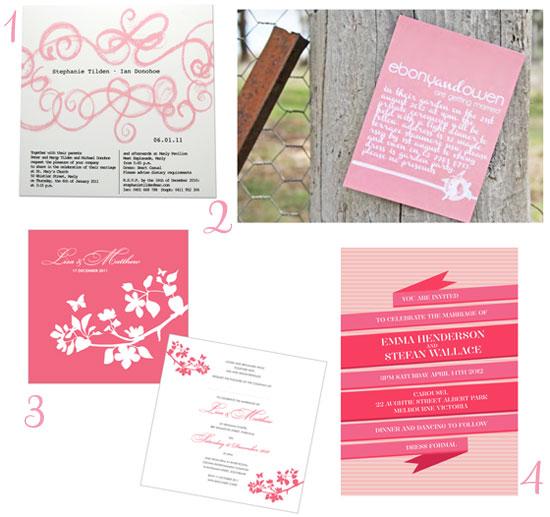 Pink Wedding Invitations Summer Lovely Wedding Invitations