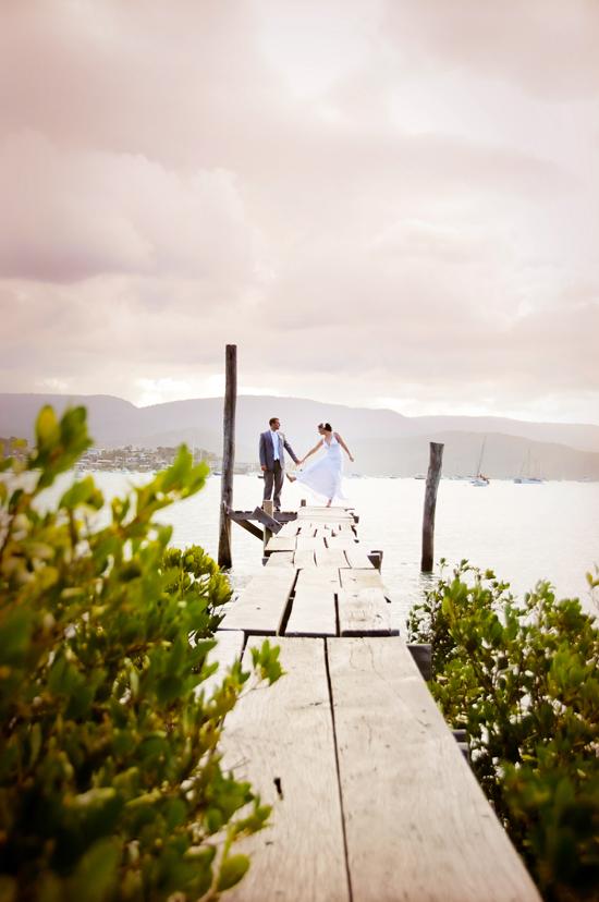 bride and groom on pier Snapshot Sunday Happy Feet