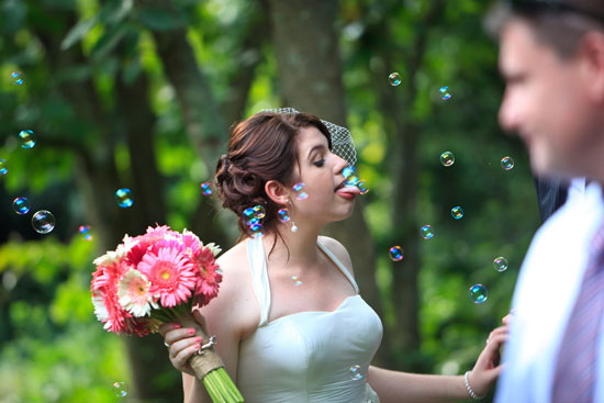 bride blowing bubbles Snapshot Sunday Bubbly