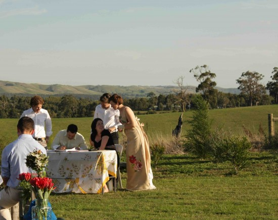 ceremony were signing our lives away e1319708835214 A Florists Country Wedding Emma and Braden