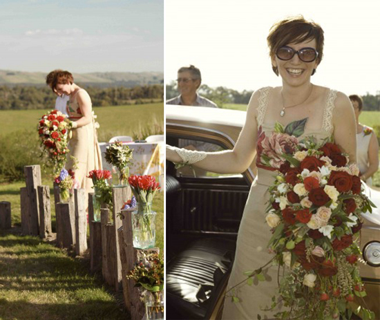 flowers styling on posts e13197087301891 A Florists Country Wedding Emma and Braden