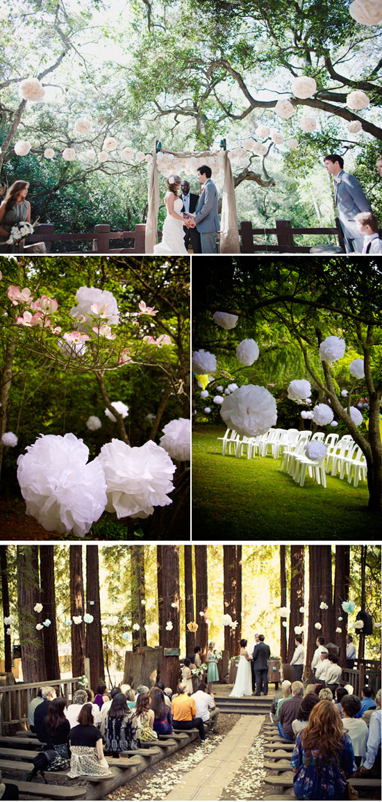 paper pom poms wedding ceremony Five Ways to Decorate Your Garden Ceremony