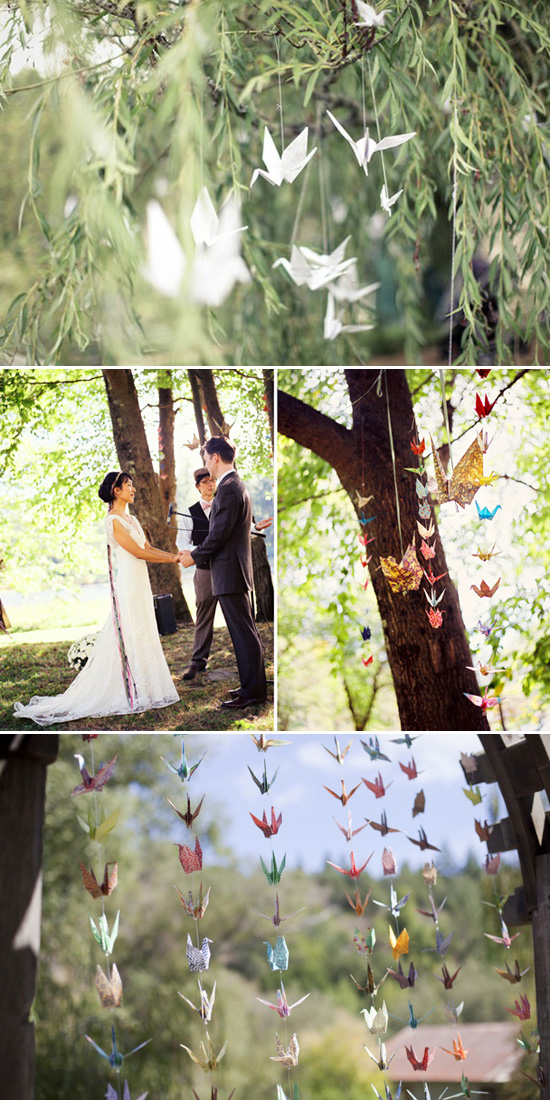 wedding paper cranes decoration Five Ways to Decorate Your Garden Ceremony