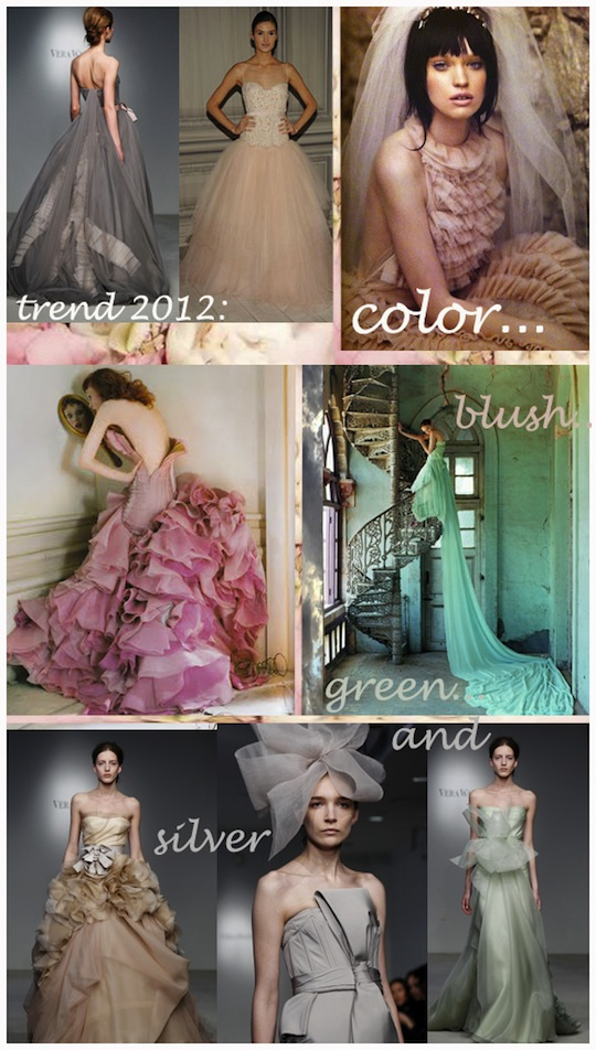 color blog Wedding Dress Trends 2012 Top Row Vera Wang Monique Lhuillier