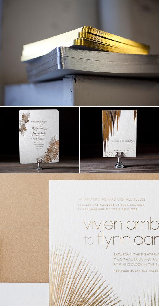 bella figura metallic wedding invitations Bella Figura Letterpress Stationery