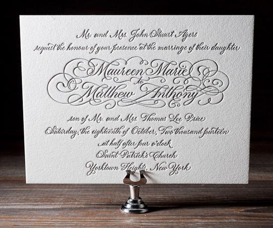 letterpress wedding invitation Bella Figura Letterpress Stationery