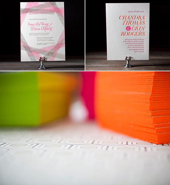 neon wedding invitations Bella Figura Letterpress Stationery