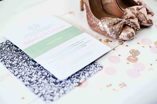 mint and pink wedding invitation Vintage Garden Party Wedding Invitations