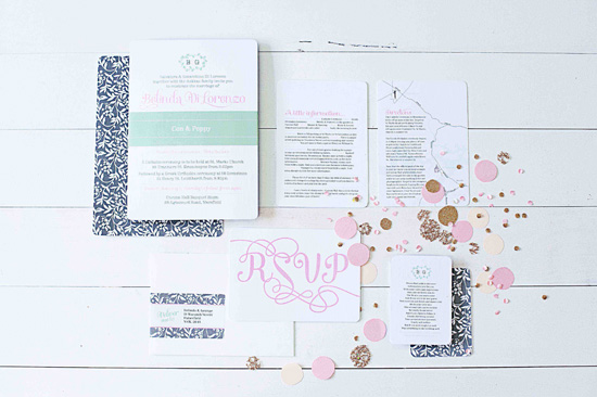 pink and mint wedding invitation Vintage Garden Party Wedding Invitations