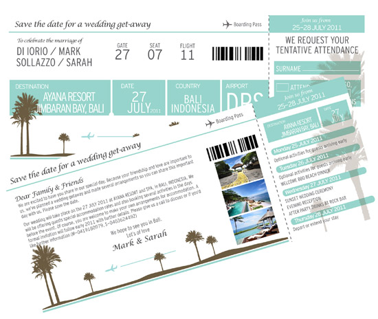 save the datet boarding pass Destination Wedding Invitations