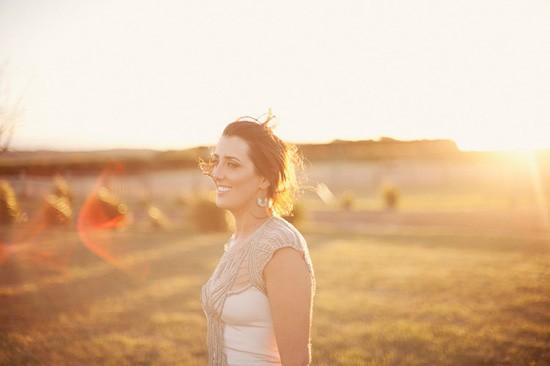 bride in gwendolynne at sunset