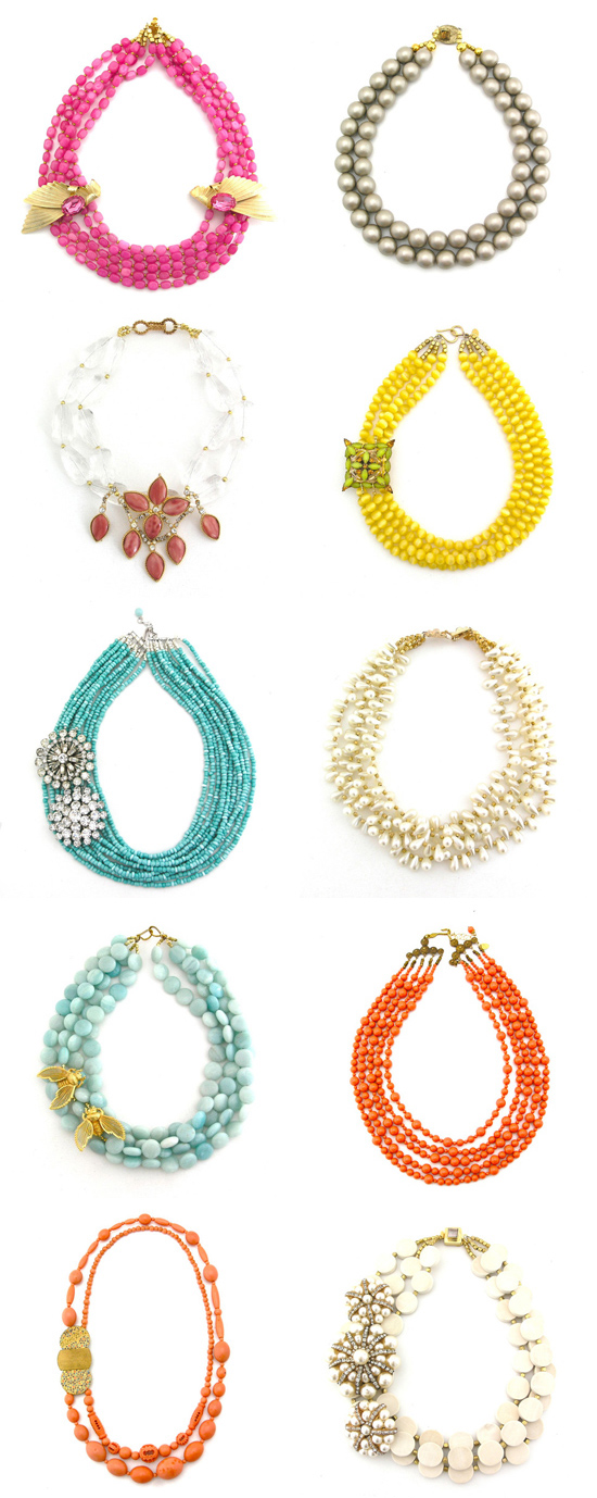 bright bridal necklaces Elva Fields Living History Spring 2012 Collection