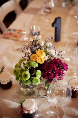 green yellow and pink wedding centrepiece