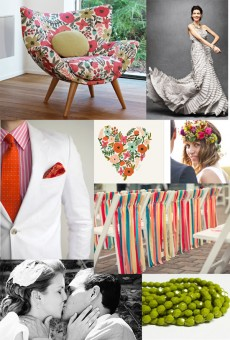 mid century floral Wedding