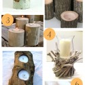 rustic wooden candleholders