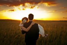 bride and groom wedding-sunset