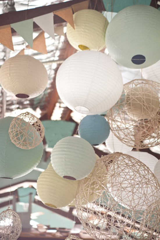 paper lantern decorations Katie and Alexs Relaxed Waterside Wedding