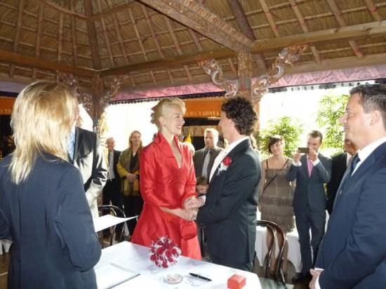 Ceremony 550x412 Red and White Hamburg Germany Wedding