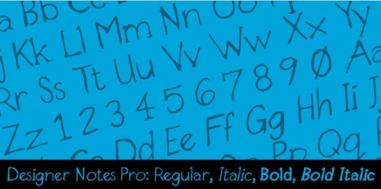 Designer Notes Pro™ Desktop font « MyFonts 550x273 Tuesday Type Designer Notes Pro