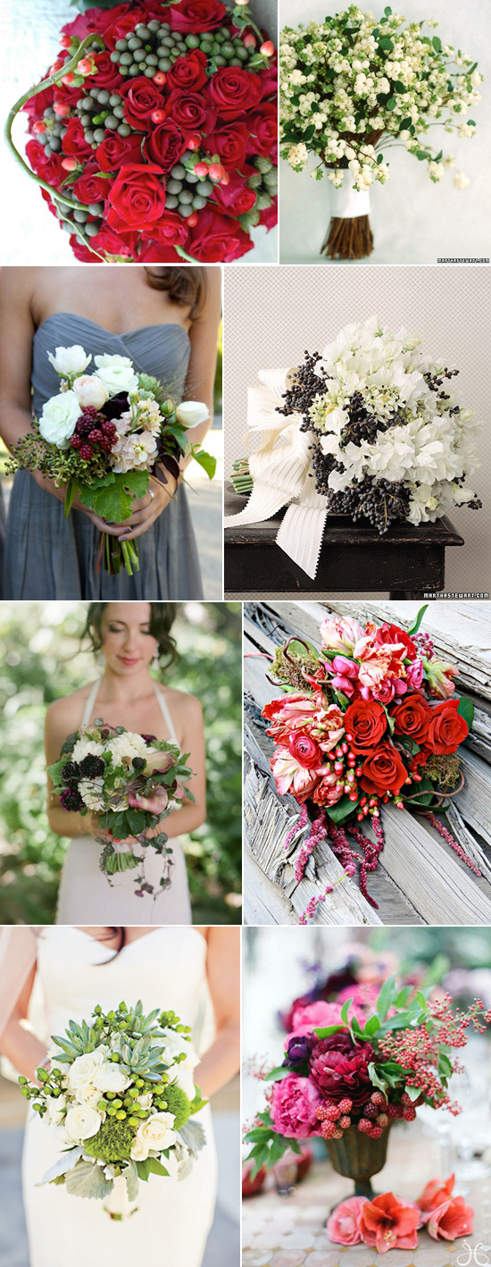 winter wedding bouquet with berries Winter Berry Bouquets