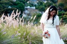 bride in cream cardigan