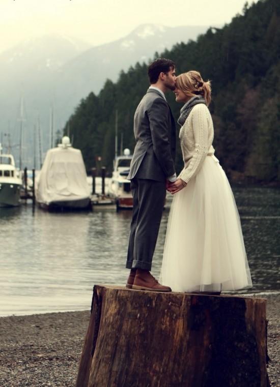 wedding dress cardigan 550x761 Winter Wedding Warmth With Cardigans