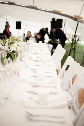 Long white wedding table
