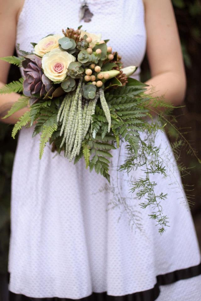 Winter Ferns, Succulents, Kale and Garrea