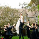 bride serenaded by bridal party