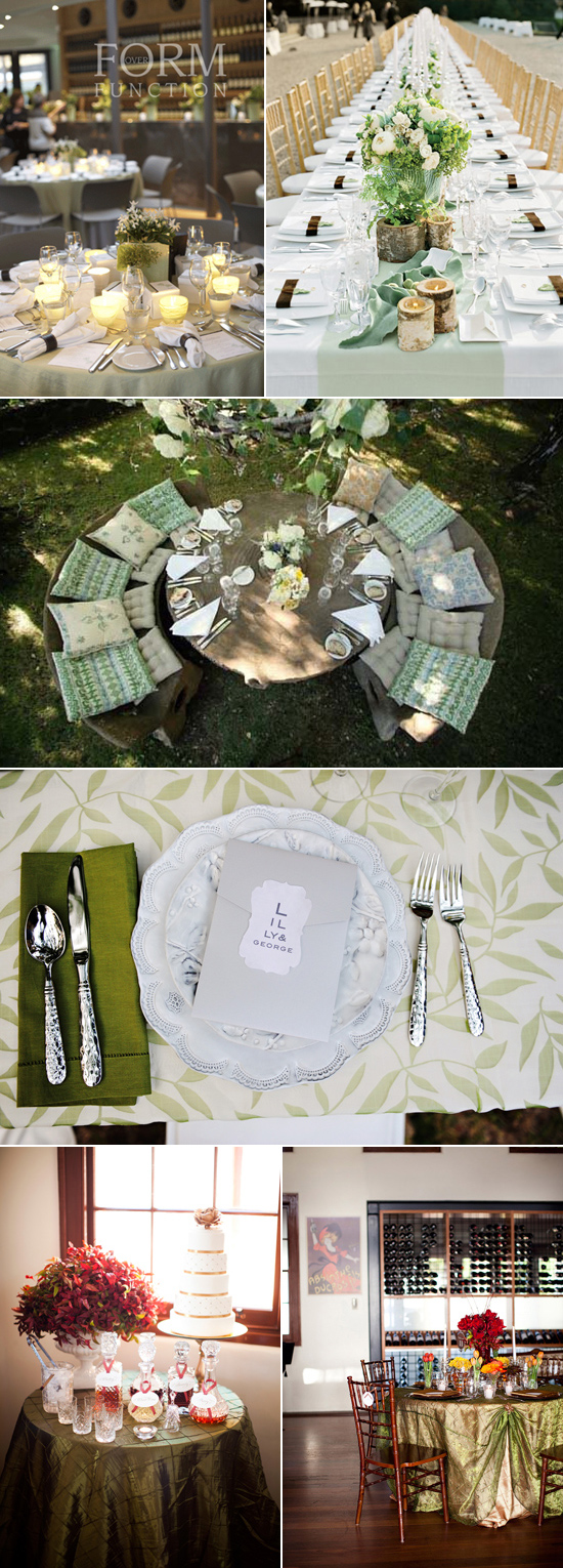 green table linen wedding inspiration Coloured Table Linen Inspiration