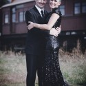 railway wedding bride in black sequins