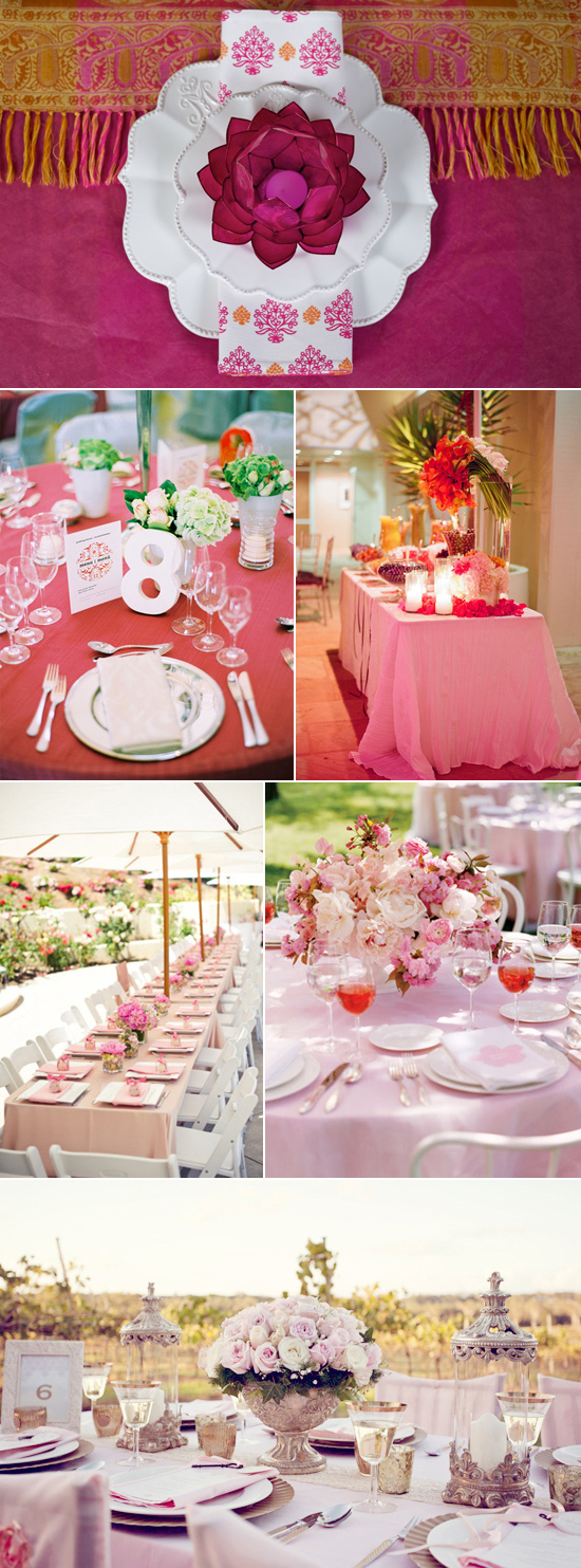red and pink table linen inspiration Coloured Table Linen Inspiration