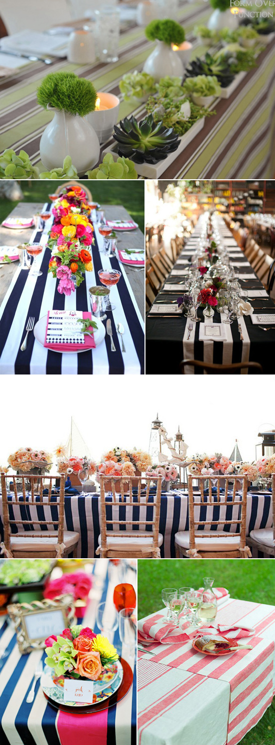 striped table linen wedding inspiration Coloured Table Linen Inspiration