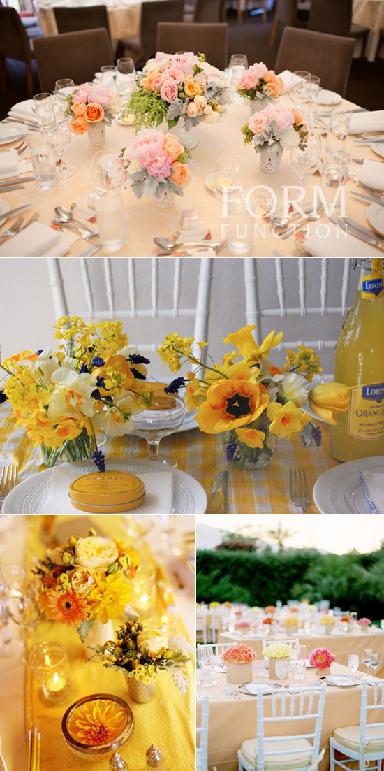yellow wedding table inspiration Coloured Table Linen Inspiration