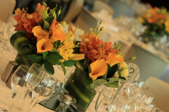 zinc tables 550x366 Summer Wedding Flowers