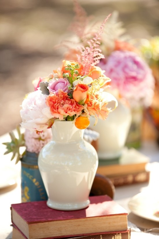 Table setting with orange and pink florals- Flowers & styled by Chanele Rose flowers- image by One love photography