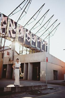 bride in industrial setting