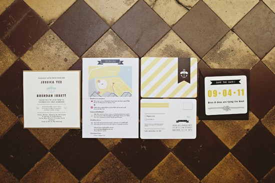 brown and yellow wedding invitations