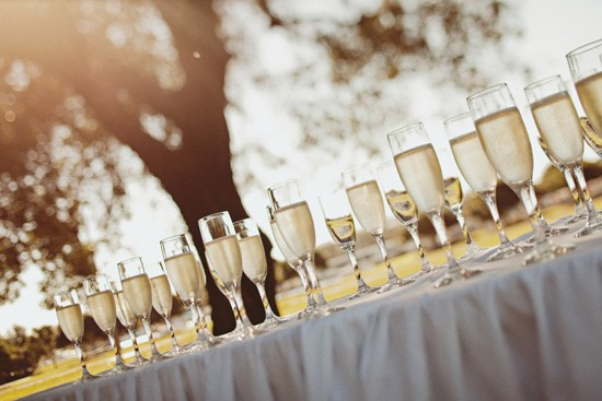 champagne glasses at ceremony