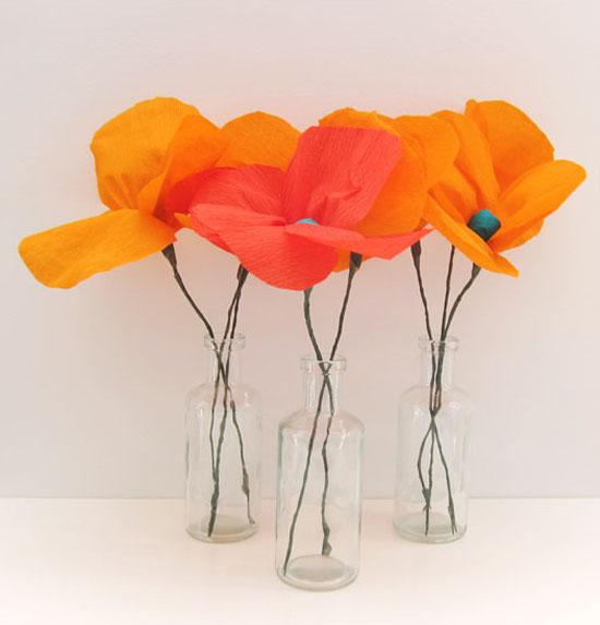 crepe paper poppies Poppy Paper Flower Tutorial