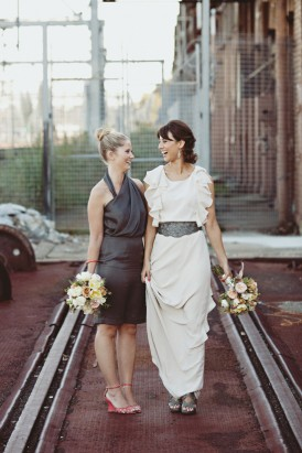 modern bride and bridesmaid0000
