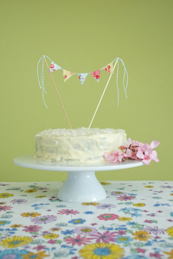 Akimbo cake topper 1 550x825 Fabric Bunting Cake Topper Tutorial With Hummingbird Cake Recipe